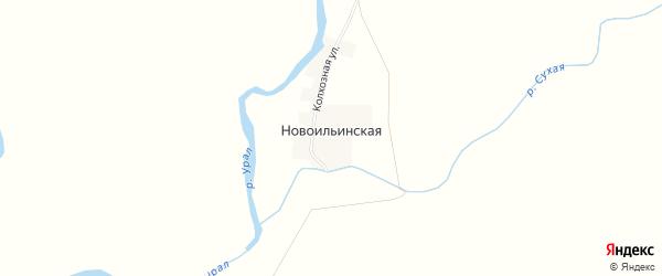 Карта Новоильинской деревни в Челябинской области с улицами и номерами домов