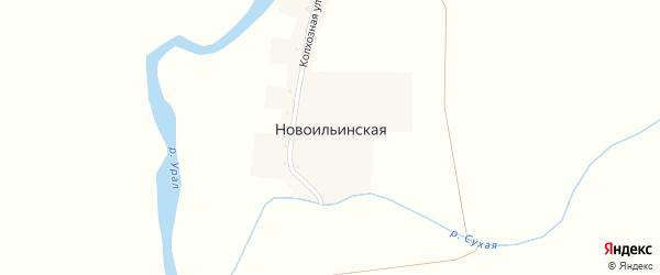 Колхозная улица на карте Новоильинской деревни с номерами домов