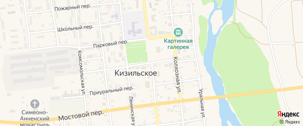 Переулок Бородулина на карте Кизильского села с номерами домов
