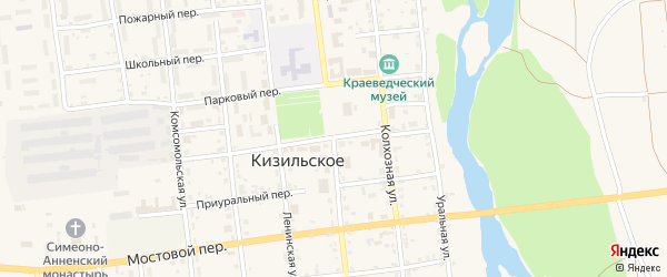 Советская улица на карте Кизильского села с номерами домов