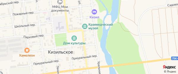 Первомайский переулок на карте Кизильского села с номерами домов