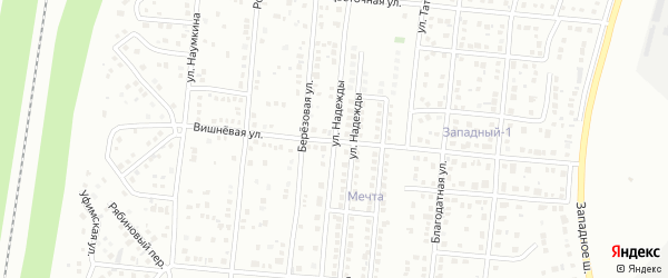Улица Надежды на карте Магнитогорска с номерами домов