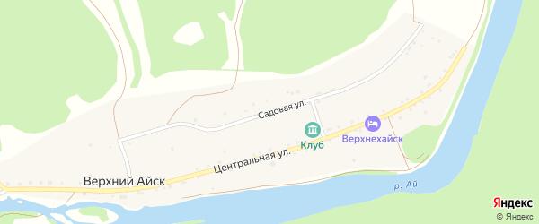Садовая улица на карте деревни Верхнего Айска с номерами домов