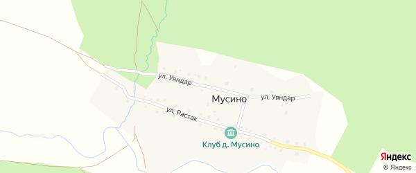 Улица Уяндар на карте деревни Мусино с номерами домов