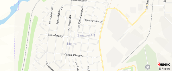 Карта поселка Западного 1 города Магнитогорска в Челябинской области с улицами и номерами домов