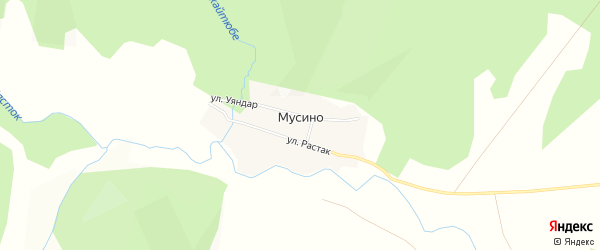 Карта деревни Мусино в Башкортостане с улицами и номерами домов