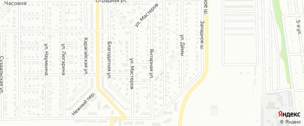 Янтарная улица на карте Магнитогорска с номерами домов