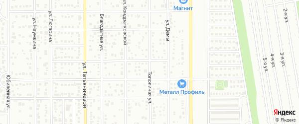 Тополиная улица на карте Магнитогорска с номерами домов