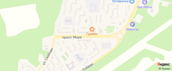Проспект Мира на карте Сатки с номерами домов