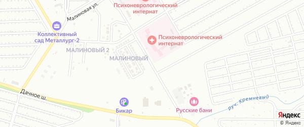 Малиновая улица на карте Магнитогорска с номерами домов