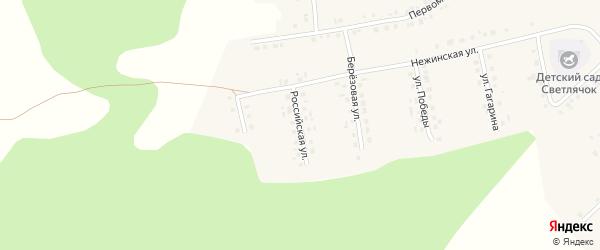 Российская улица на карте села Новобелокатая с номерами домов