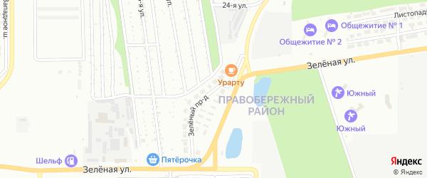 Зеленый проезд на карте Магнитогорска с номерами домов