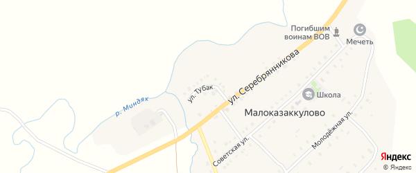 Улица Тубак на карте деревни Малоказаккулово с номерами домов