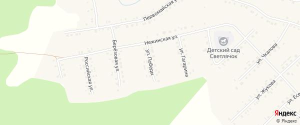 Улица Победы на карте села Новобелокатая с номерами домов