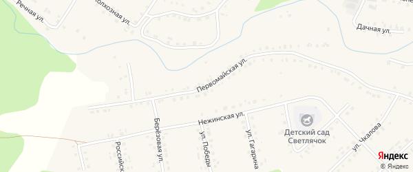 Первомайская улица на карте села Новобелокатая с номерами домов