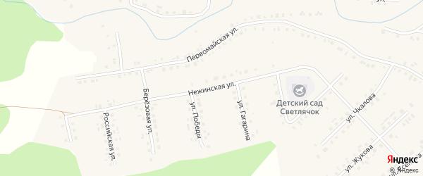 Нежинская улица на карте села Новобелокатая с номерами домов