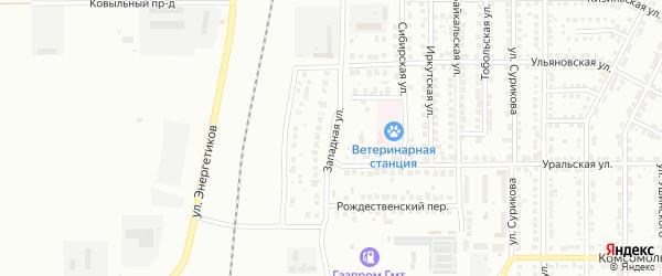 Западная улица на карте Магнитогорска с номерами домов
