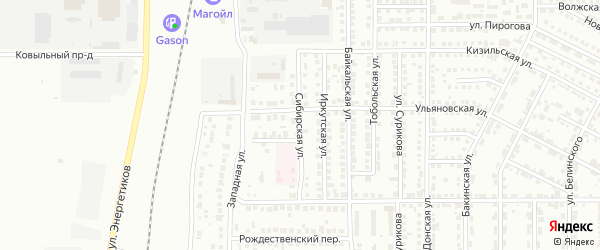 Сибирская улица на карте Магнитогорска с номерами домов