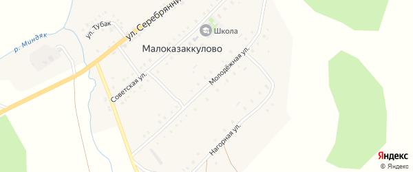 Молодежная улица на карте деревни Малоказаккулово с номерами домов