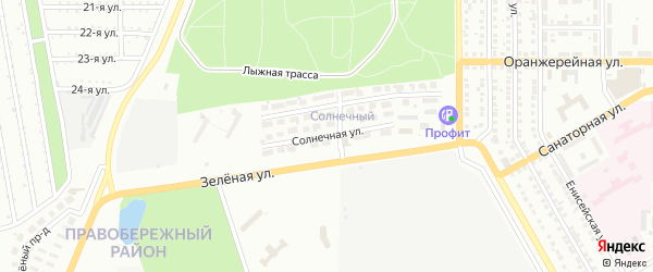 Солнечная улица на карте Магнитогорска с номерами домов