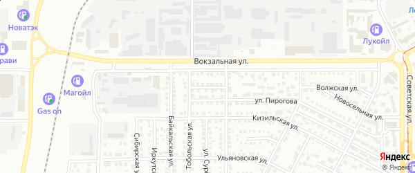 Целинный переулок на карте Магнитогорска с номерами домов
