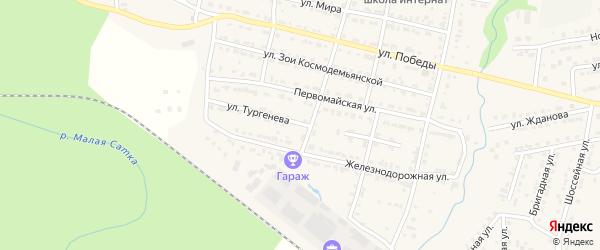 Улица Тургенева на карте Сатки с номерами домов