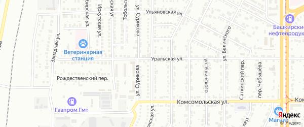 Донская улица на карте Магнитогорска с номерами домов