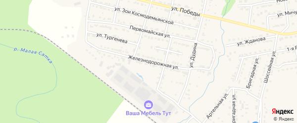 Железнодорожная улица на карте Сатки с номерами домов