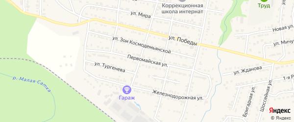 Первомайская улица на карте Сатки с номерами домов