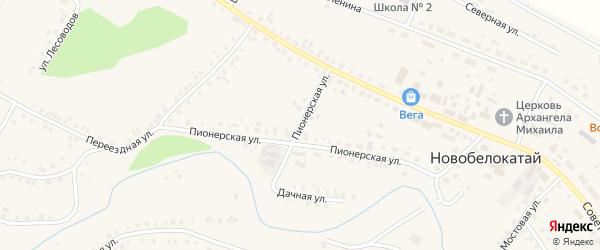 Пионерская улица на карте села Новобелокатая с номерами домов