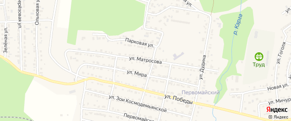 Улица Матросова на карте Сатки с номерами домов