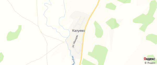 Карта деревни Калуево в Башкортостане с улицами и номерами домов