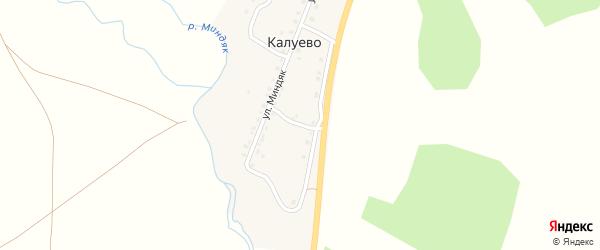 Придорожная улица на карте деревни Калуево с номерами домов