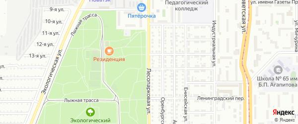 Лесопарковая улица на карте Магнитогорска с номерами домов
