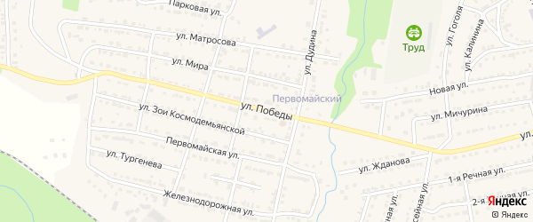 Улица Победы на карте Сатки с номерами домов