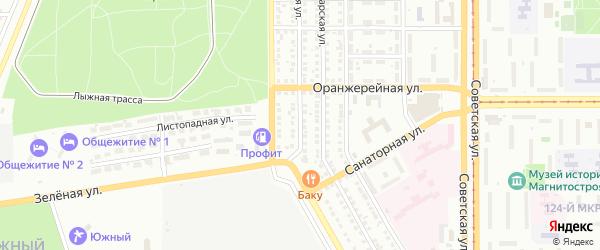 Оренбургская улица на карте Магнитогорска с номерами домов
