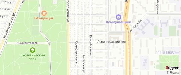 Енисейская улица на карте Магнитогорска с номерами домов