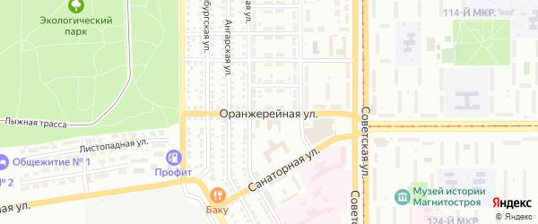 Оранжерейная улица на карте Магнитогорска с номерами домов