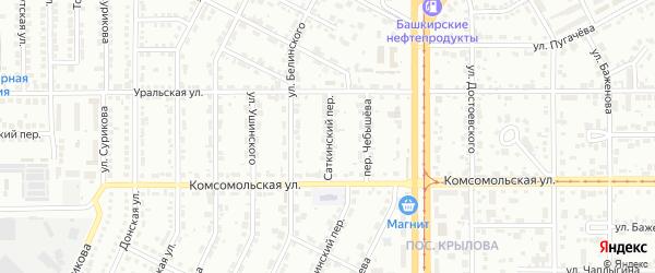 Саткинский переулок на карте Магнитогорска с номерами домов