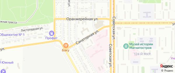 Санаторная улица на карте Магнитогорска с номерами домов