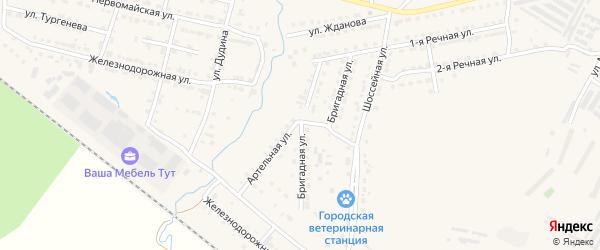 Артельная улица на карте Челябинска с номерами домов