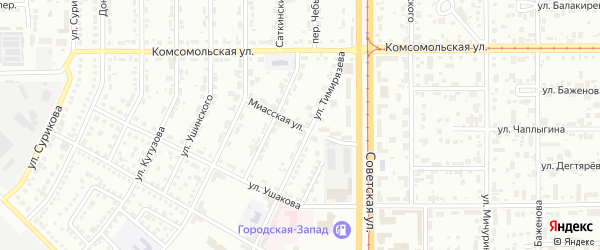 Миасская улица на карте Магнитогорска с номерами домов