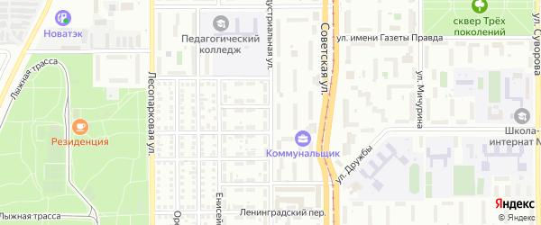 Индустриальная улица на карте Магнитогорска с номерами домов