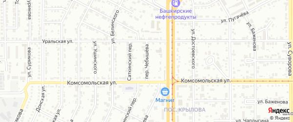 Переулок Чебышева на карте Магнитогорска с номерами домов