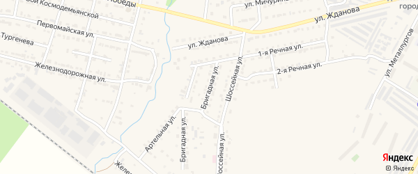 Бригадная улица на карте Сатки с номерами домов