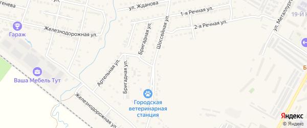 Шоссейная улица на карте Сатки с номерами домов