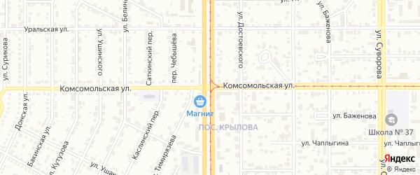 Комсомольская улица на карте Магнитогорска с номерами домов