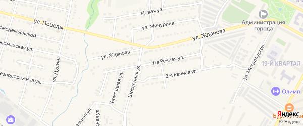 1-я Речная улица на карте Сатки с номерами домов