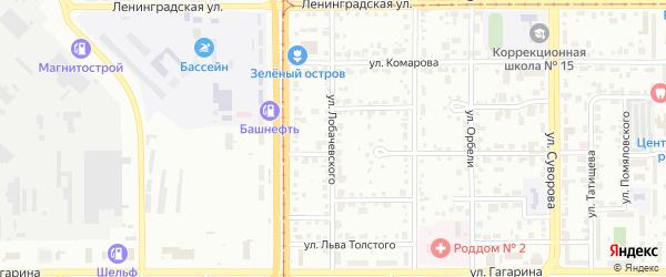 Улица Лобачевского на карте Магнитогорска с номерами домов