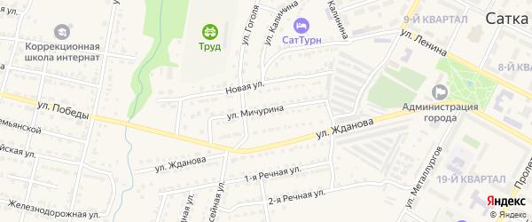Улица Мичурина на карте Сатки с номерами домов